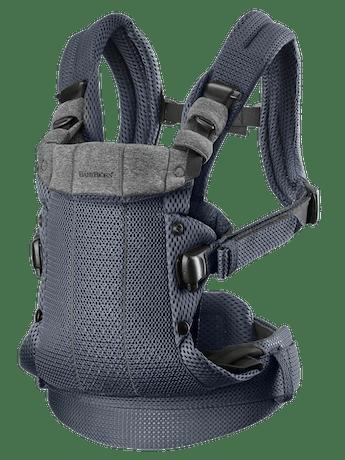 Porte-Bébé Harmony Anthracite 3D Mesh ultra confortable avec un support lombaire rembourré et une conception physiologique