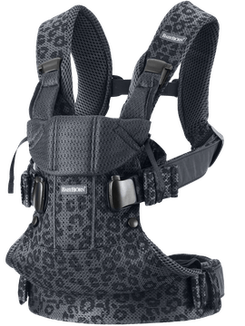 Babytrage One Air Anthrazit-grau/ Leopard 3D Netzstoff, Mit drei Trageweisen kannst du auch das Kind auf dem Rücken tragen.