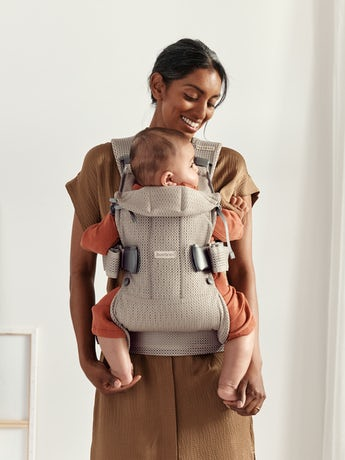 Baby Carrier One Air Grey beige 3D Mesh. Carry your child facing in, facing out or on your back. From 0–3 years