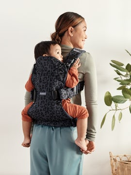 Baby Carrier One Air Anthracite Leopard 3D mesh, with three babywearing positions