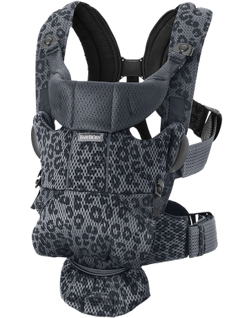 Baby Carrier Move Anthracite Leopard, a ergonomic, user-friendly and flexible baby carrier in soft 3D mesh