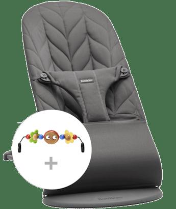 Babywippe Bliss Antrazitgrau Baumwolle Blütenblatt Steppung mit Spielzeug Fröhliche Augen kombiniert