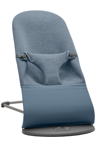 Bouncer Bliss in Dove blue soft and cozy 3D Jersey with natural rocking without batteries