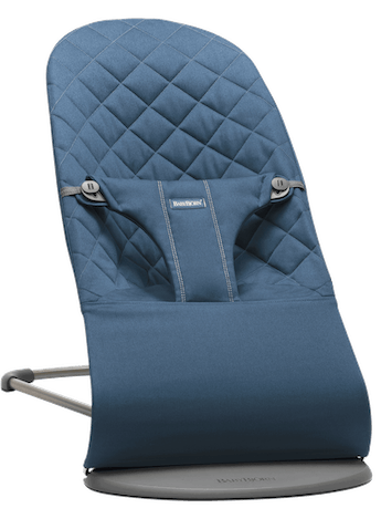 Bouncer Bliss in Midnight blue in soft quilted cotton with natural rocking without batteries
